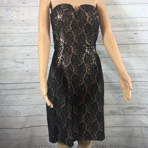 Bisou Bisou strapless sequins and lace dress